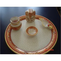 9 * 9 Inches Marble Complete Pooja Plate