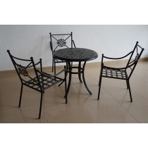 Aluminium Matte Black Table and Chair Set
