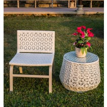 Aluminium White Flower Pattern Chair