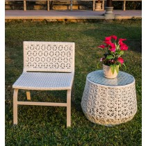 Aluminium White Flower Pattern Table Chair Set