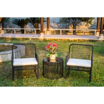 Aluminium & PE Rattan With White Cushion Chair