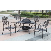 Aluminium Wood Fire Pit Table and Chair Set