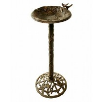 Aluminum Hummingbird Design Antique Bronze Birdbath