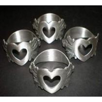 Aluminum Mat Finish Heart Shaped Napkin Ring