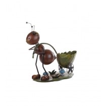 Ant With Green Leaf Shape Metal Pot