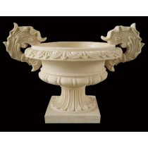 Antique Artificial Sandstone With Carved Handle Flowerpot