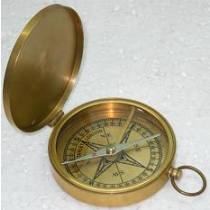 Antique Brass Compass, 3.5 Inches