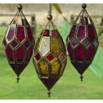 Antique Brass Multicolored Hanging Lantern