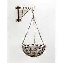 Antique Bronze Finish Leaf Design Hanging Basket