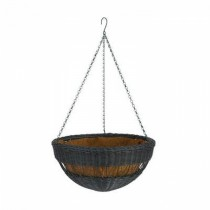 Antique Brown Resin Wicker Hanging Basket