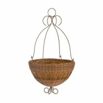 Antique Brown Resin Wicker Hanging Planter