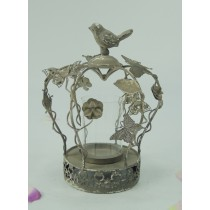 Antique Butterfly & Flower Metal Candle Holder