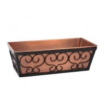 Antique Copper Box With Black Metal Window Planter