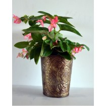 Antique Copper Galvanized Metal Bucket Planter