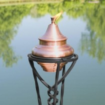 Antique Copper Finish Garden Torch With Floor Stand