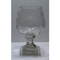 Antique Cut Clear Glass Candle Holder