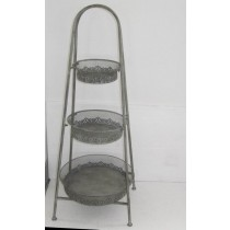 Antique Decorative Metal Flower Stand With 3 Tiered