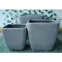 Antique Finish Fiber Stone Pots Set of 3 Pcs