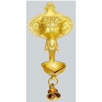Antique Finish Ganesha Hanging Diya, 11 Inches