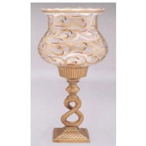 Antique Finish Hurricane Candle Holder, 20 Inches