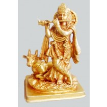 Antique Finish Krishna With Cow, 8 Inches