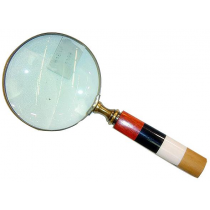 Antique Finish Magnifying Glass With Colored Handle , 5 Inches