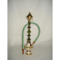 Antique Golden Brass With Painted Pattern Hookah