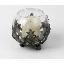 Antique Gray Decorative Metal Candle Holder
