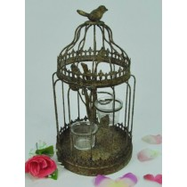 Antique Gray Metal Bird Cage Candle Holder