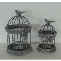 Antique Gray Metal Bird Cage Candle Holder(Set/2)