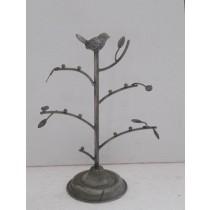 Antique Gray Metal Tree  Jewlery Holder