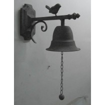 Antique Gray metal wall hook with bell and rooster