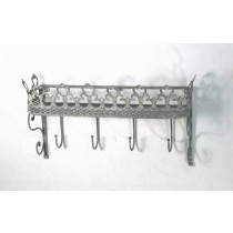 Antique Gray Metal Wall Shelf With 4  Hooks