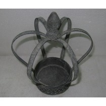 Antique Gray Table Top Metal Candle Holder