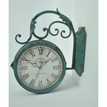 Antique Green Curved Metal Wall Clock