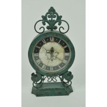 Antique Green Decorative Table Top Metal Clock