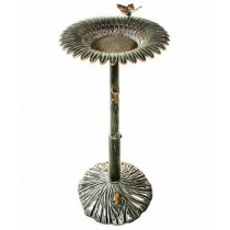 Antique Pewter Sunflower Design Bird Bath
