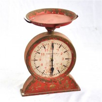 Antique Red Table Top Metal Clock