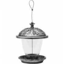 Antique Silver Finish Hanging Bird Feeder