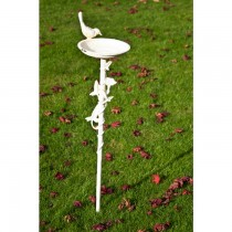 Antique White Finish Cast Iron Bird Bath