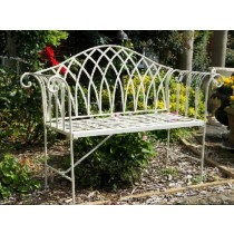 Antique White Finish Handmade Wrought Iron Garden Bench