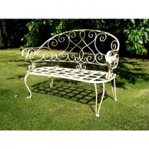 Antique White Finish Iron Garden Bench