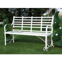 Antique White Finish Wrought Iron Garden Bench