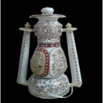 Antique White Marble Electric Lantern In Gold Work