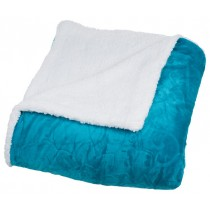 Aqua Blue Floral Etched Fleece King Size Throw