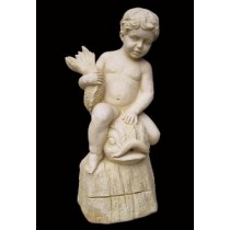 Artificial Sandstone Boy Sitting On Fish Water Fountain