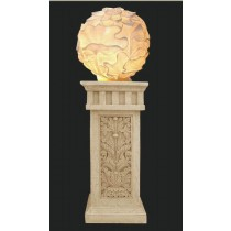Artificial Sandstone Carved Ball Lamp With Pedestal