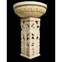 Artificial Sandstone Carved Floral Design Pedestal Flowerpot