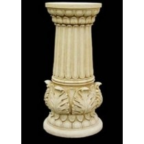 Artificial Sandstone Carved Leaf Design Pedestal