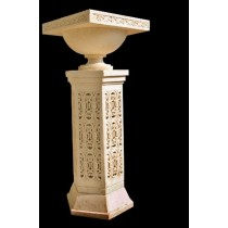 Artificial Sandstone Carved Pedestal With Flower Pot